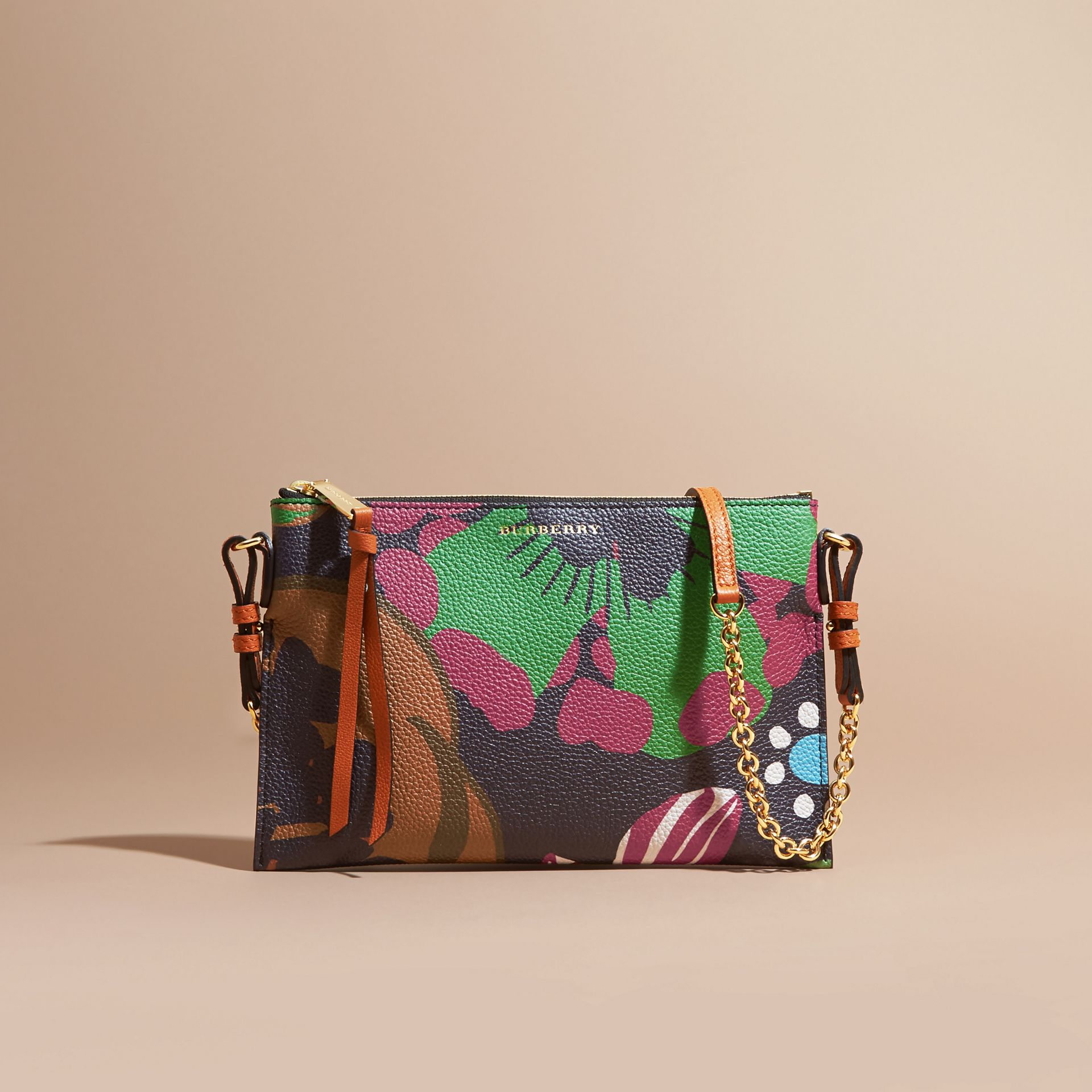 Navy Floral Print Leather Clutch Bag Navy - gallery image 7