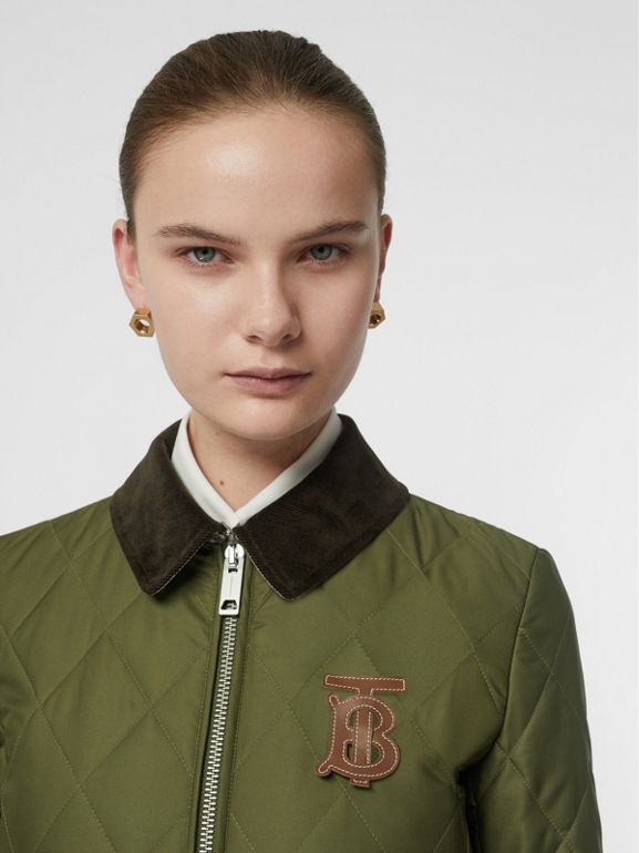 Monogram Motif Quilted Riding Coat in Utility Green - Women | Burberry - cell image 1