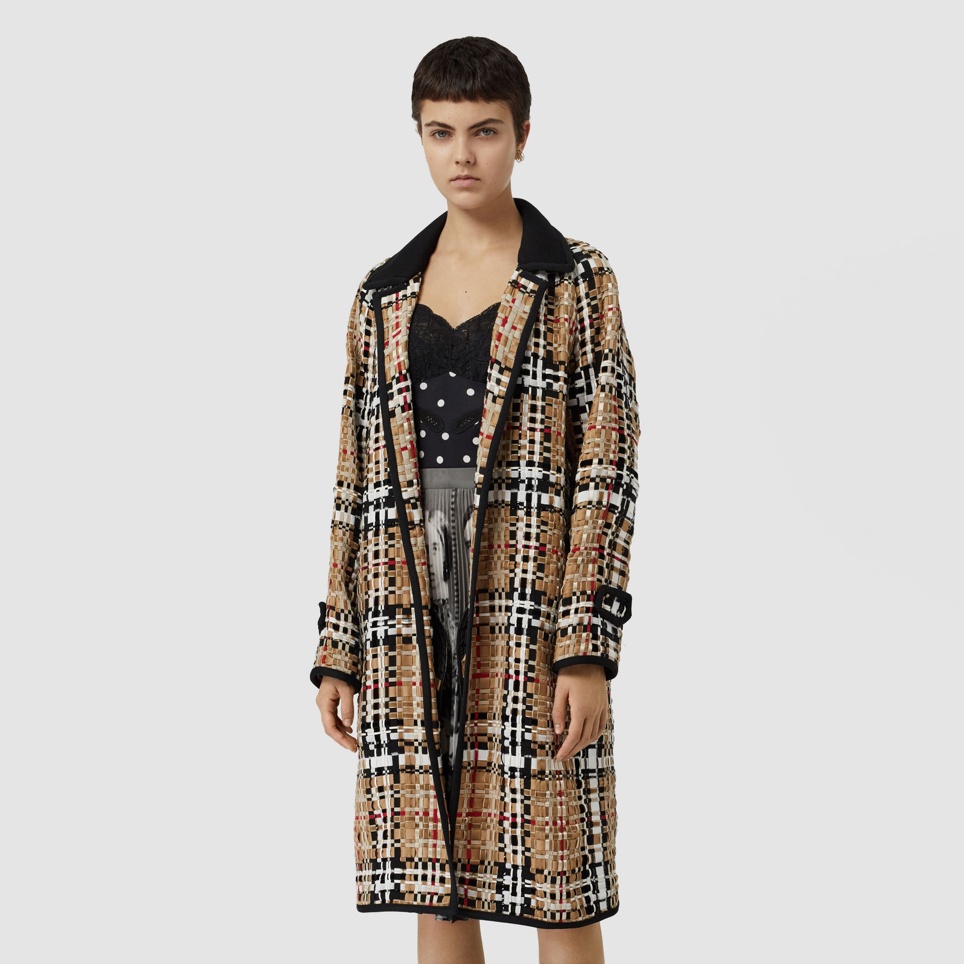 Check Basketweave Ribbon Coat in Archive Beige - Women | Burberry Australia - gallery image 4