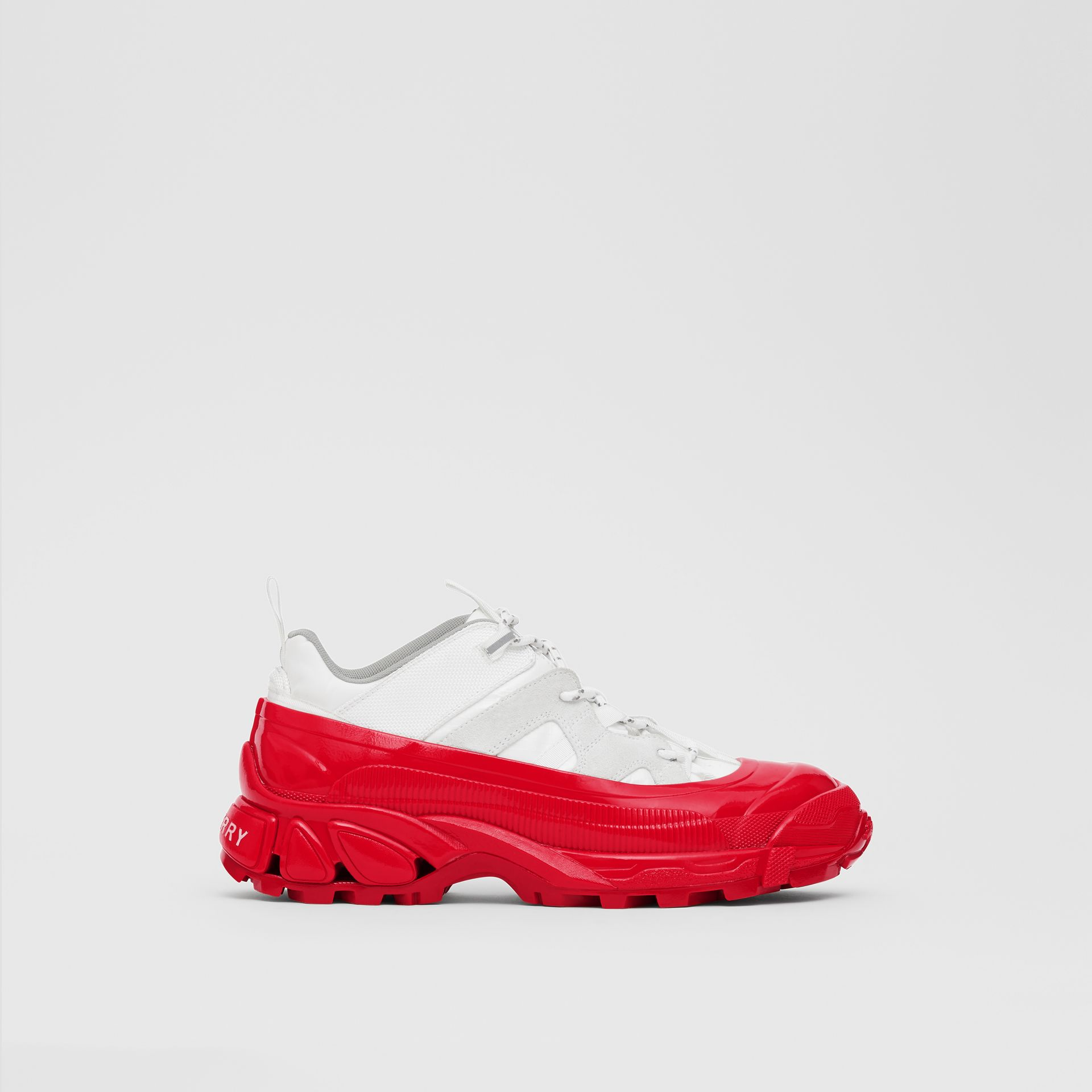 Nylon and Suede Arthur Sneakers in White/red - Women | Burberry - gallery image 5