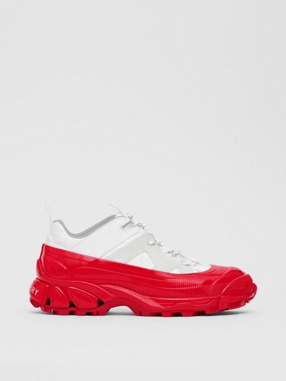 Zapatillas deportivas Arthur en nailon y ante (Blanco / Rojo)