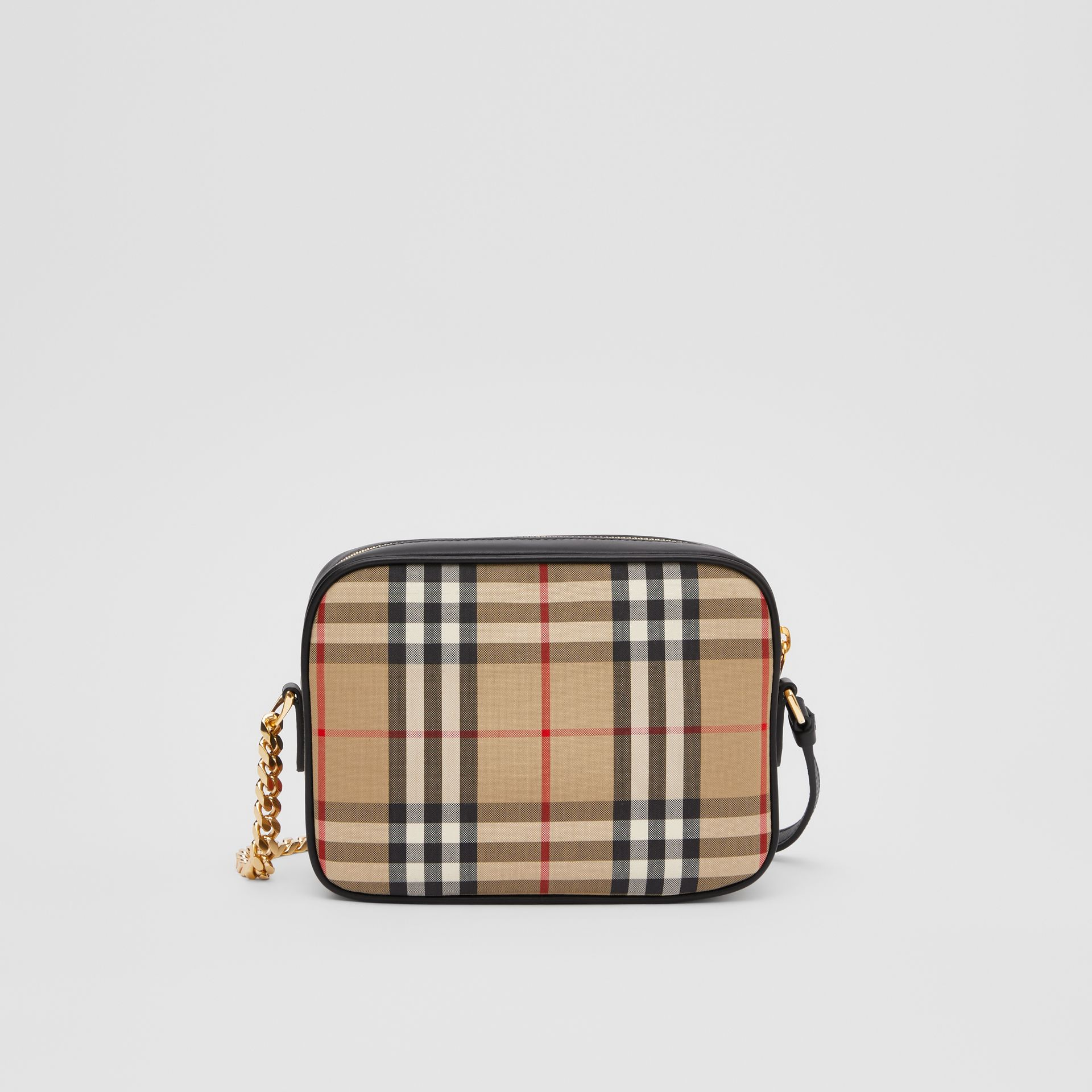 Vintage Check and Leopard Print Calf Hair Camera Bag in Black | Burberry - gallery image 7