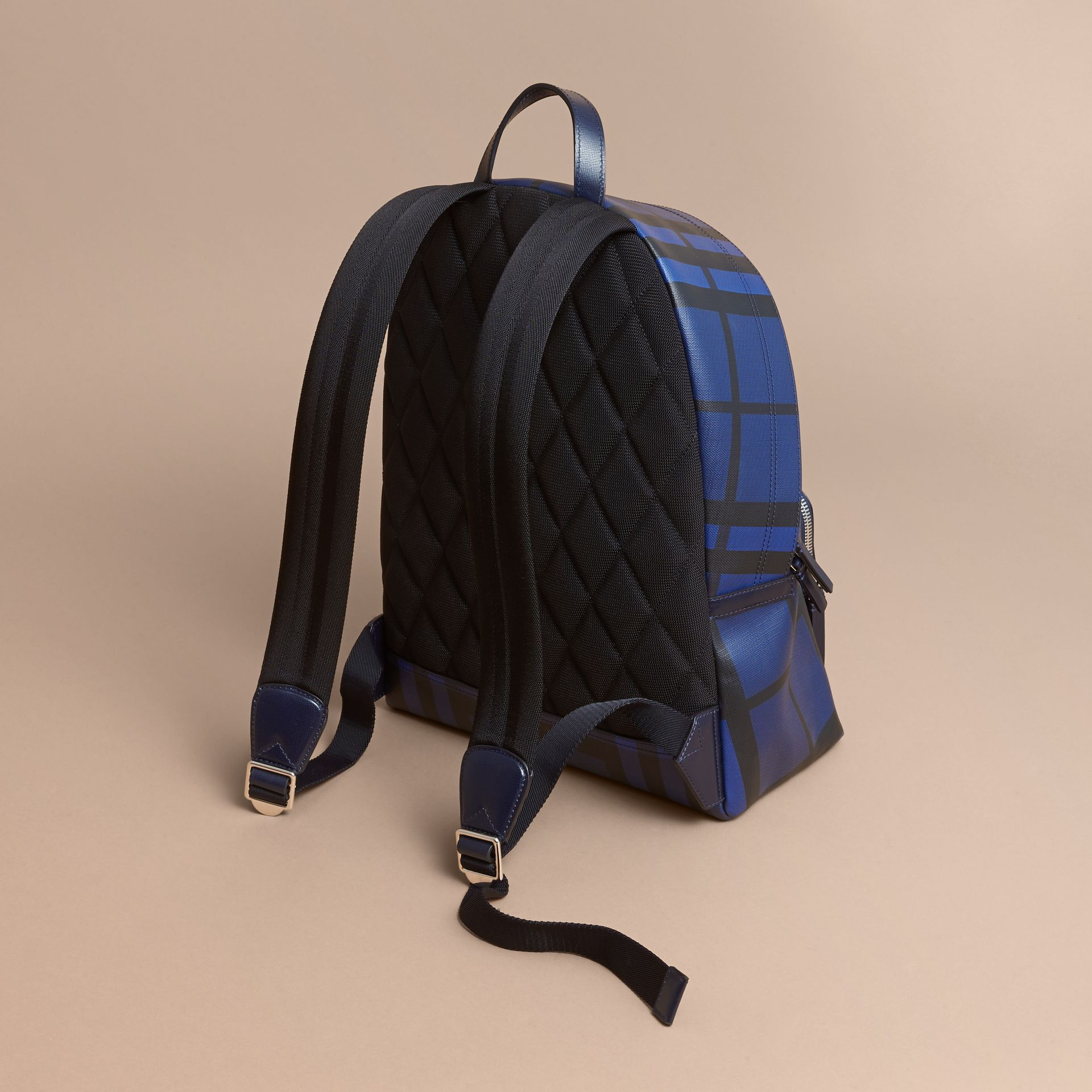 Leather Trim London Check Backpack in Bright Lapis - Men | Burberry - gallery image 4