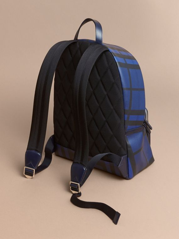 Leather Trim London Check Backpack in Bright Lapis - Men | Burberry - cell image 3