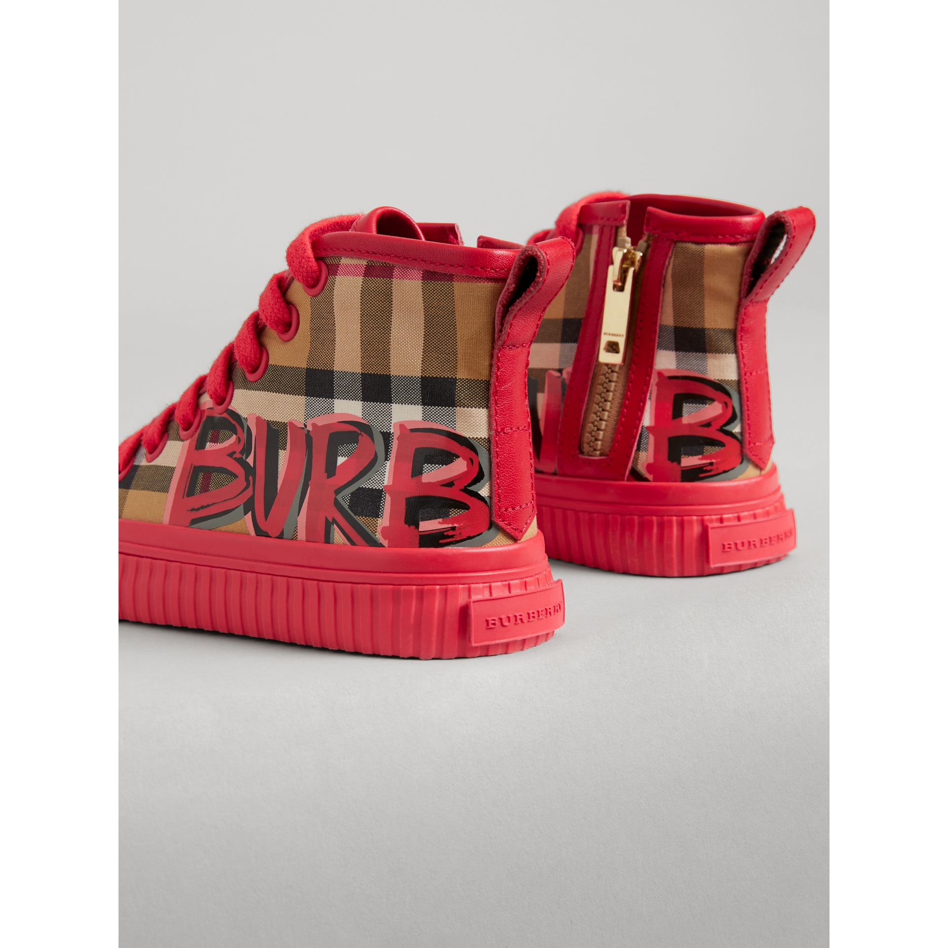 Graffiti Vintage Check High-top Sneakers in Bright Red | Burberry - gallery image 2