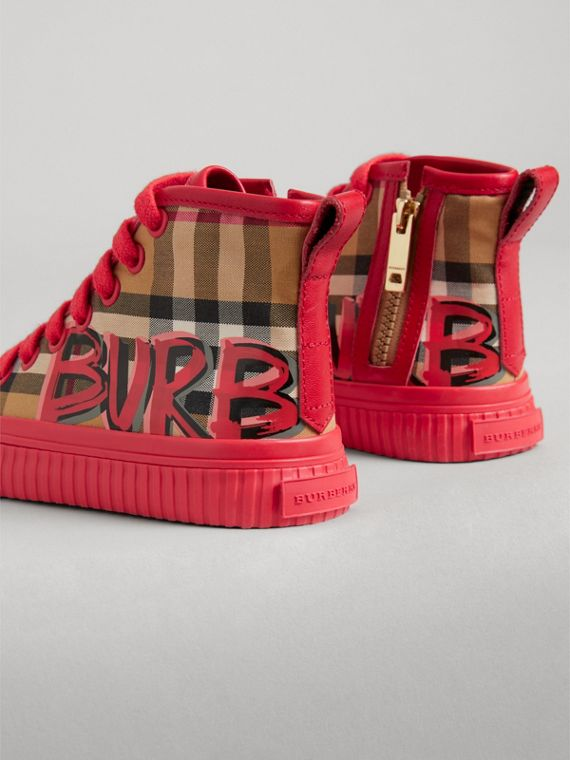 Graffiti Vintage Check High-top Sneakers in Bright Red | Burberry - cell image 2