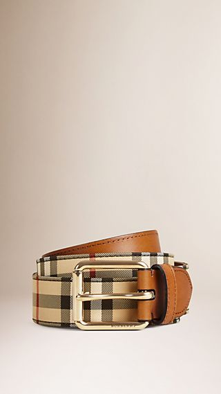 Cinto de couro com padrão Horseferry Check