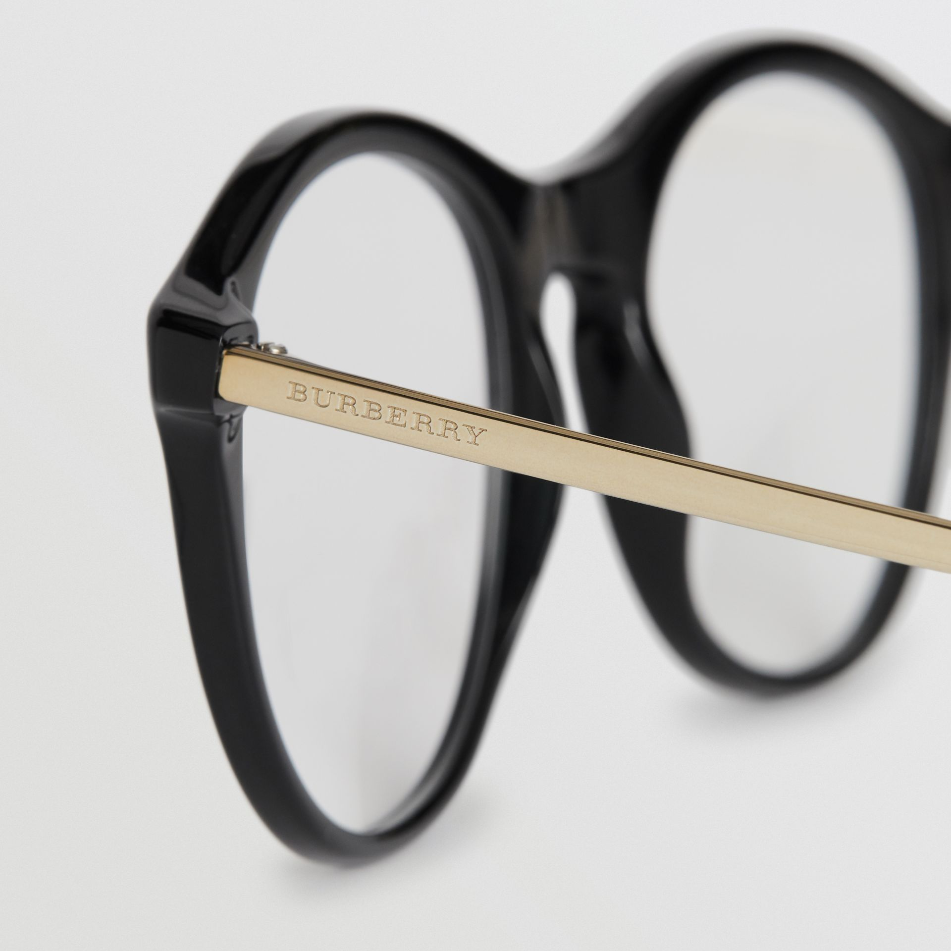 Vintage Check Detail Round Optical Frames in Black - Women | Burberry Australia - gallery image 1