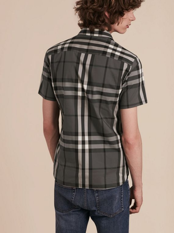 Short-sleeved Check Stretch Cotton Shirt Charcoal - cell image 2