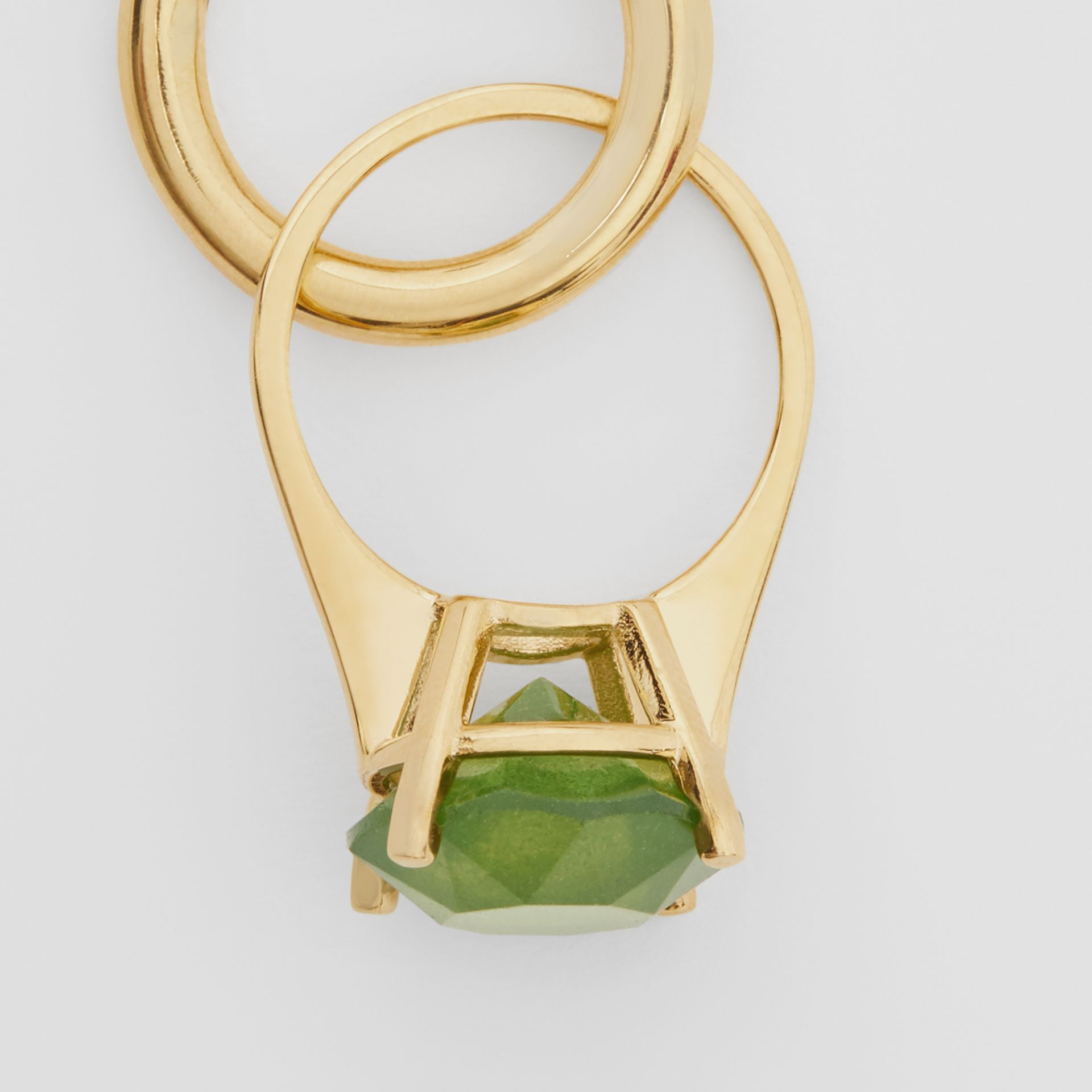 Crystal Ring Detail Gold-plated Hoop Earrings in Light Gold/jade - Women | Burberry - gallery image 1