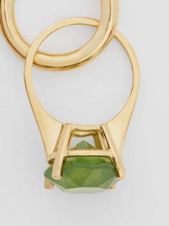 Crystal Ring Detail Gold-plated Hoop Earrings in Light Gold/jade - Women | Burberry - cell image 1