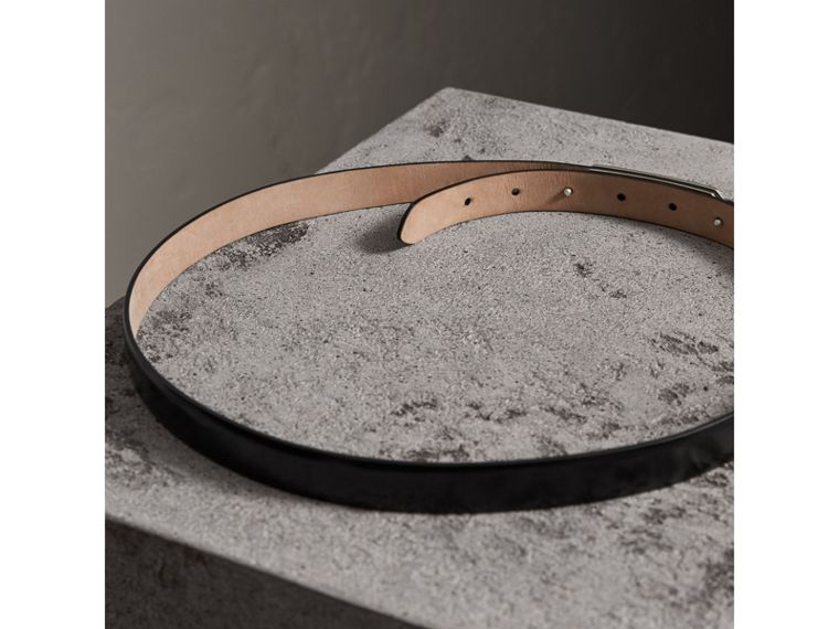 Plaque Buckle Leather Belt in Black - Women | Burberry - cell image 2