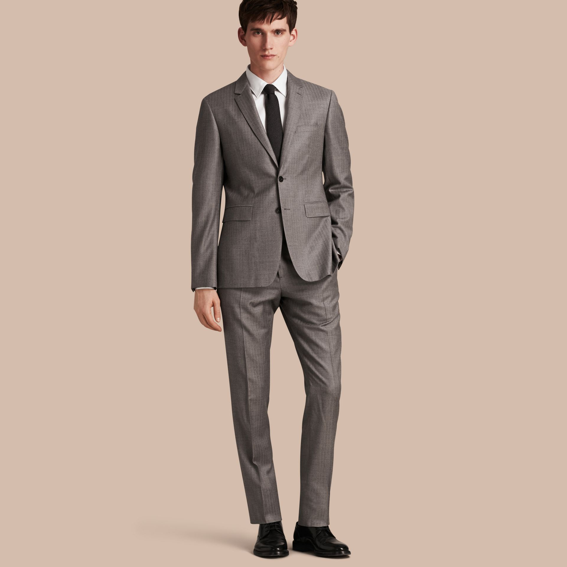 Mid grey melange Slim Fit Travel Tailoring Wool Suit - gallery image 1