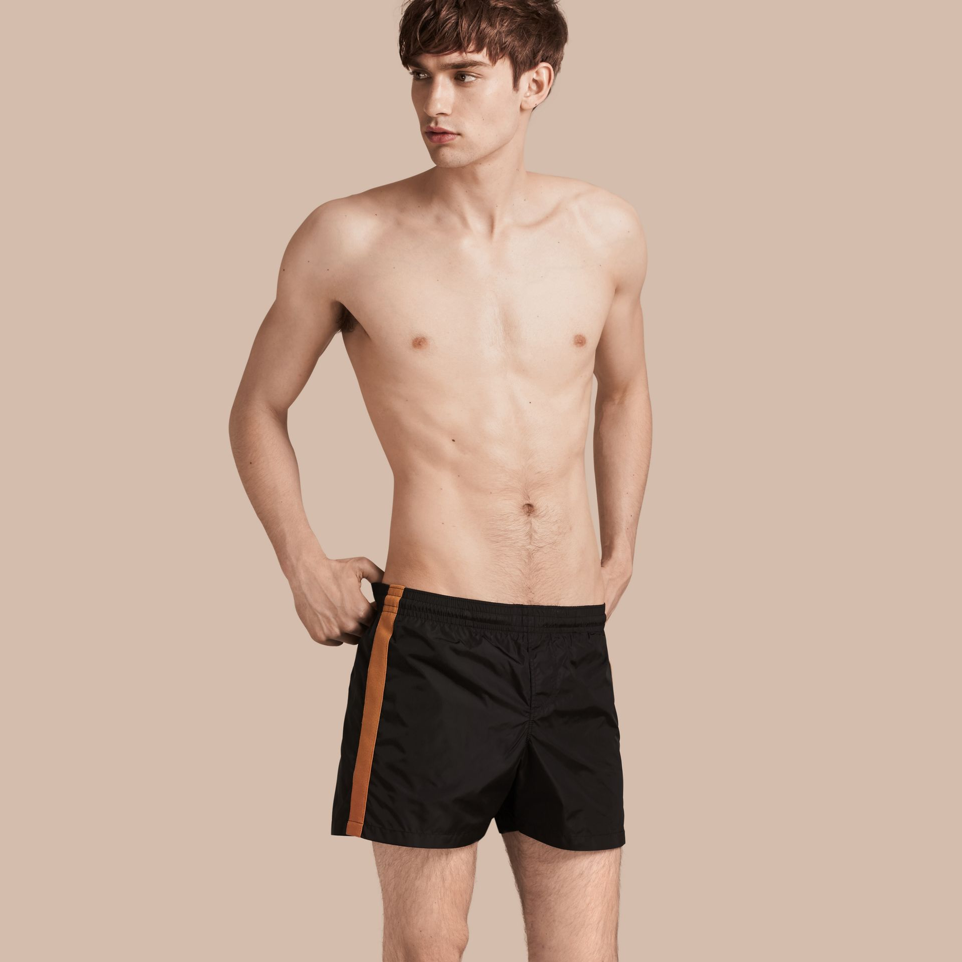 Black Stripe Detail Swim Shorts Black - gallery image 1