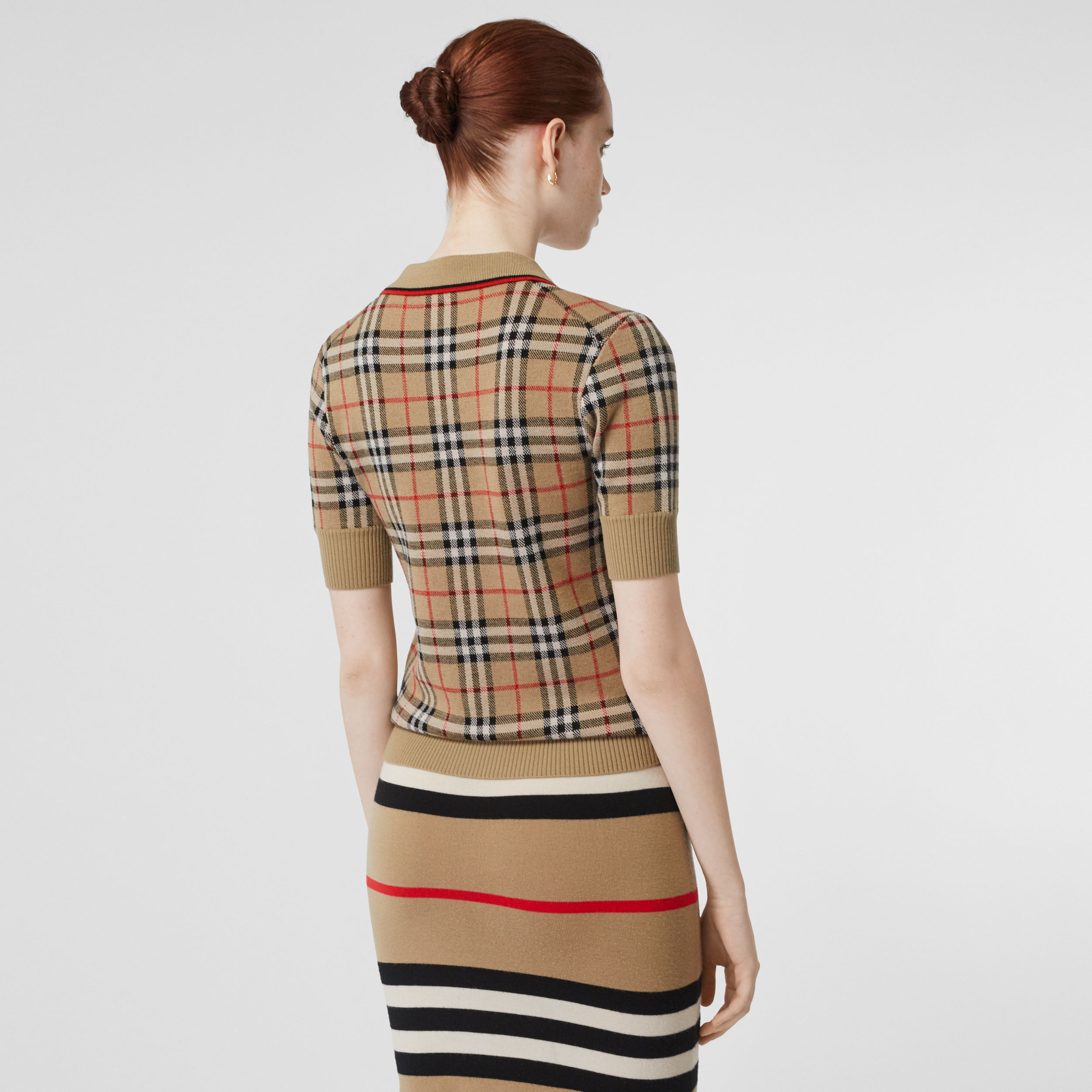 Vintage Check Merino Wool Polo Shirt in Archive Beige - Women | Burberry - 3