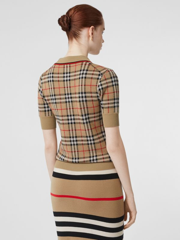 Vintage Check Merino Wool Polo Shirt in Archive Beige - Women | Burberry Canada - cell image 2