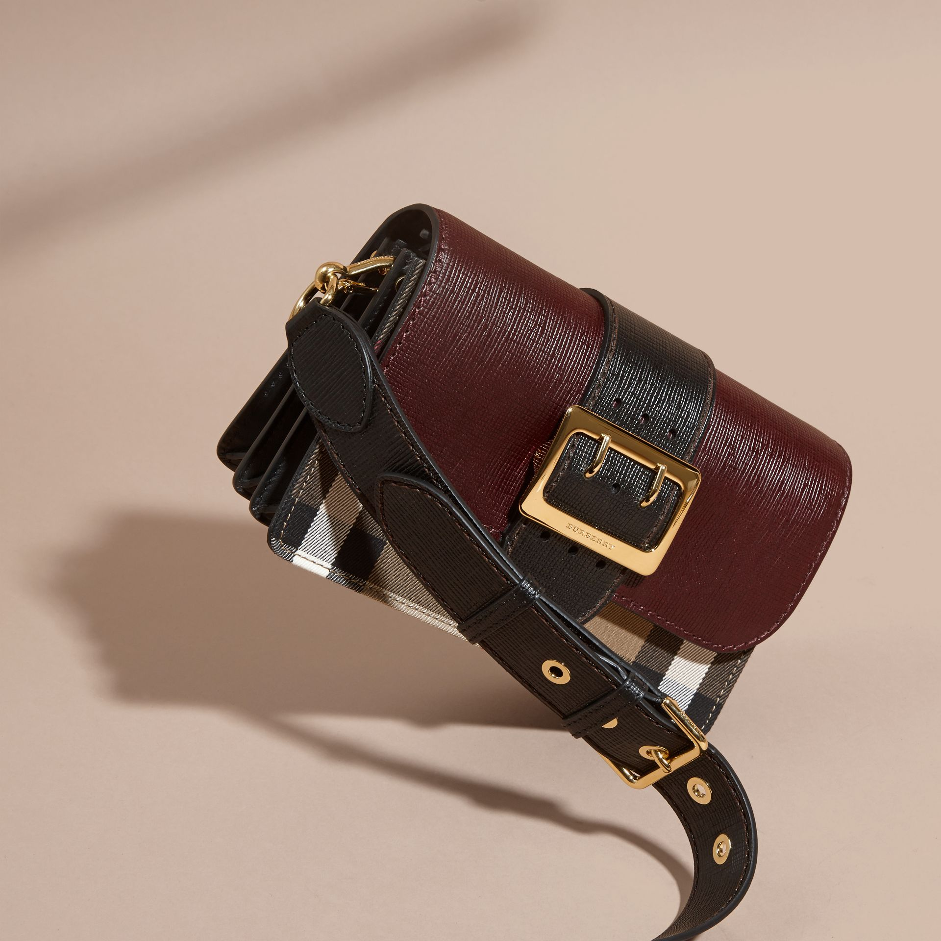 The Medium Buckle Bag in House Check and Textured Leather in Burgundy/black - gallery image 8
