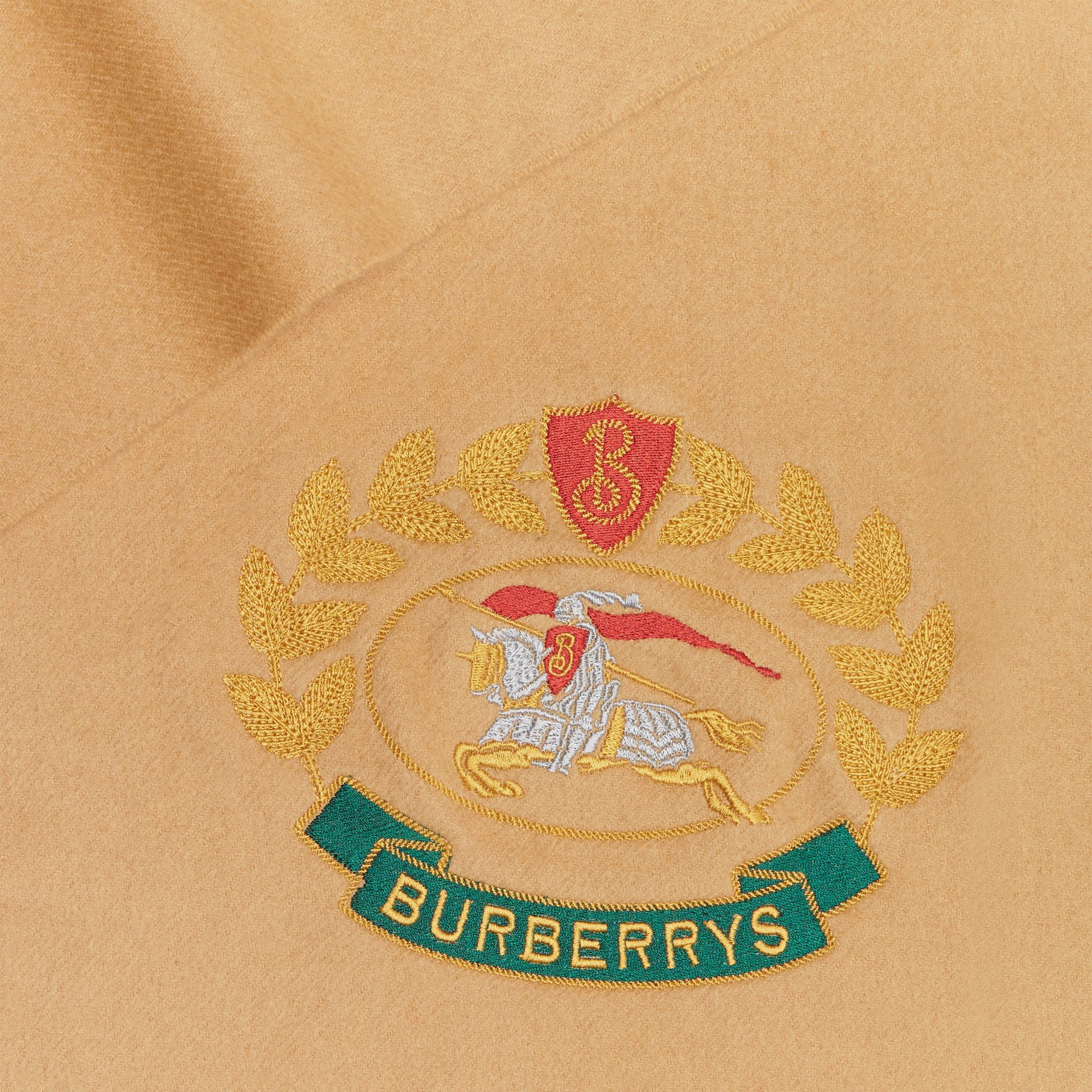 The Classic Cashmere Scarf with Archive Logo in Antique Yellow | Burberry Australia - gallery image 1