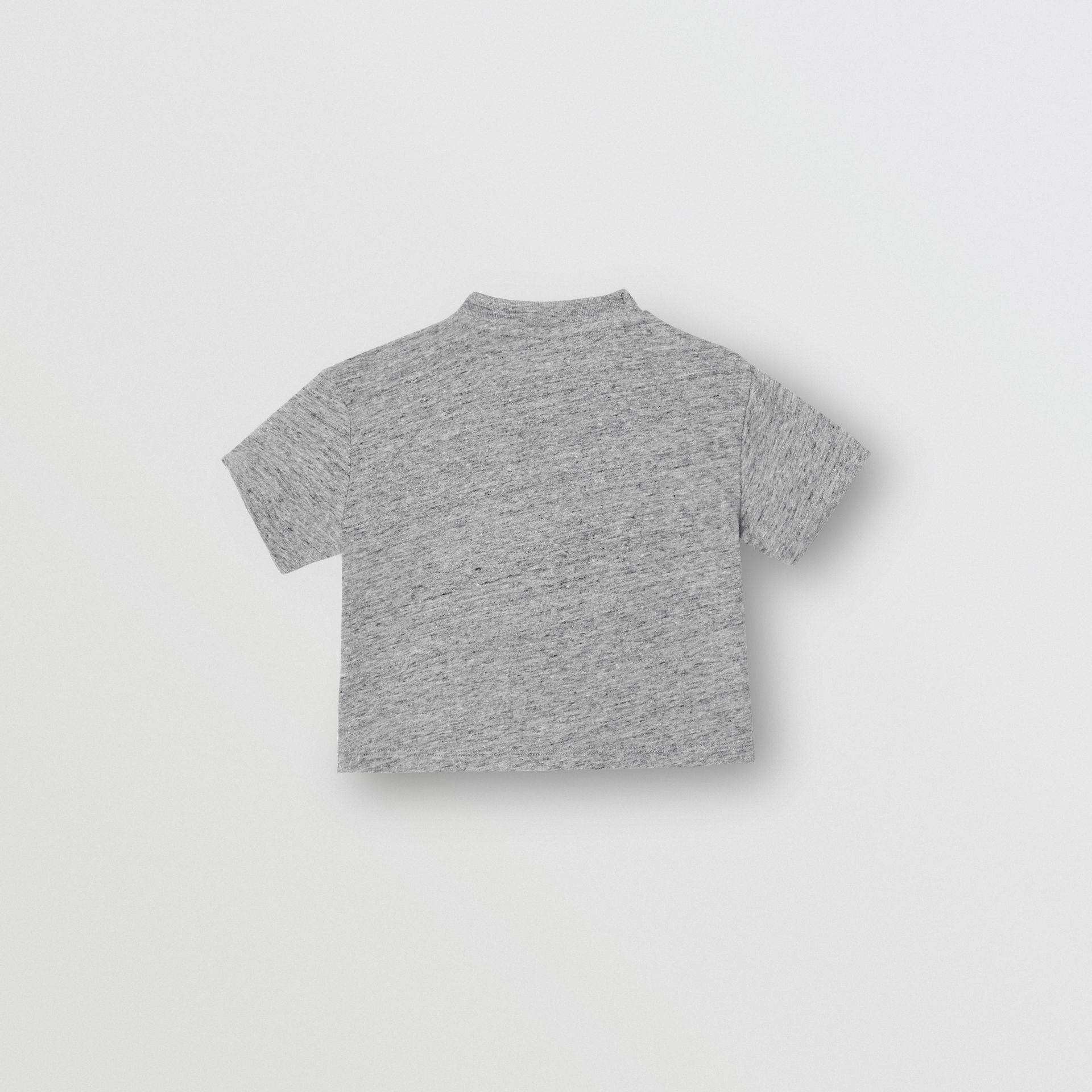 Logo Print Cotton Blend Jersey T-shirt in Grey Melange - Children | Burberry - gallery image 3