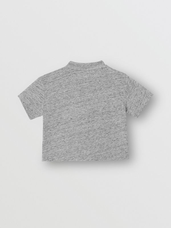 Logo Print Cotton Blend Jersey T-shirt in Grey Melange - Children | Burberry - cell image 3