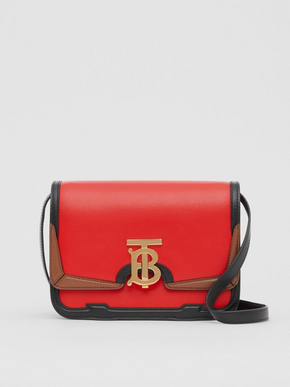 Small Appliqué Leather TB Bag in Bright Red