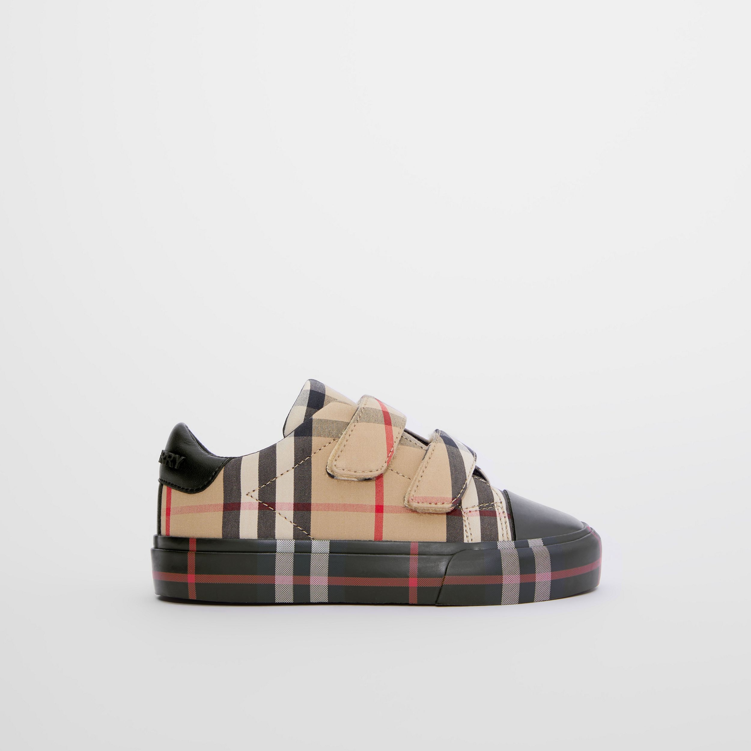 Contrast Check Cotton Sneakers in Archive Beige/black - Children | Burberry - 4