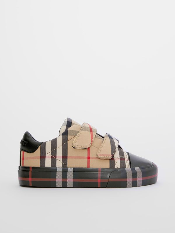 Contrast Check Cotton Sneakers in Archive Beige/black - Children | Burberry Hong Kong S.A.R - cell image 3