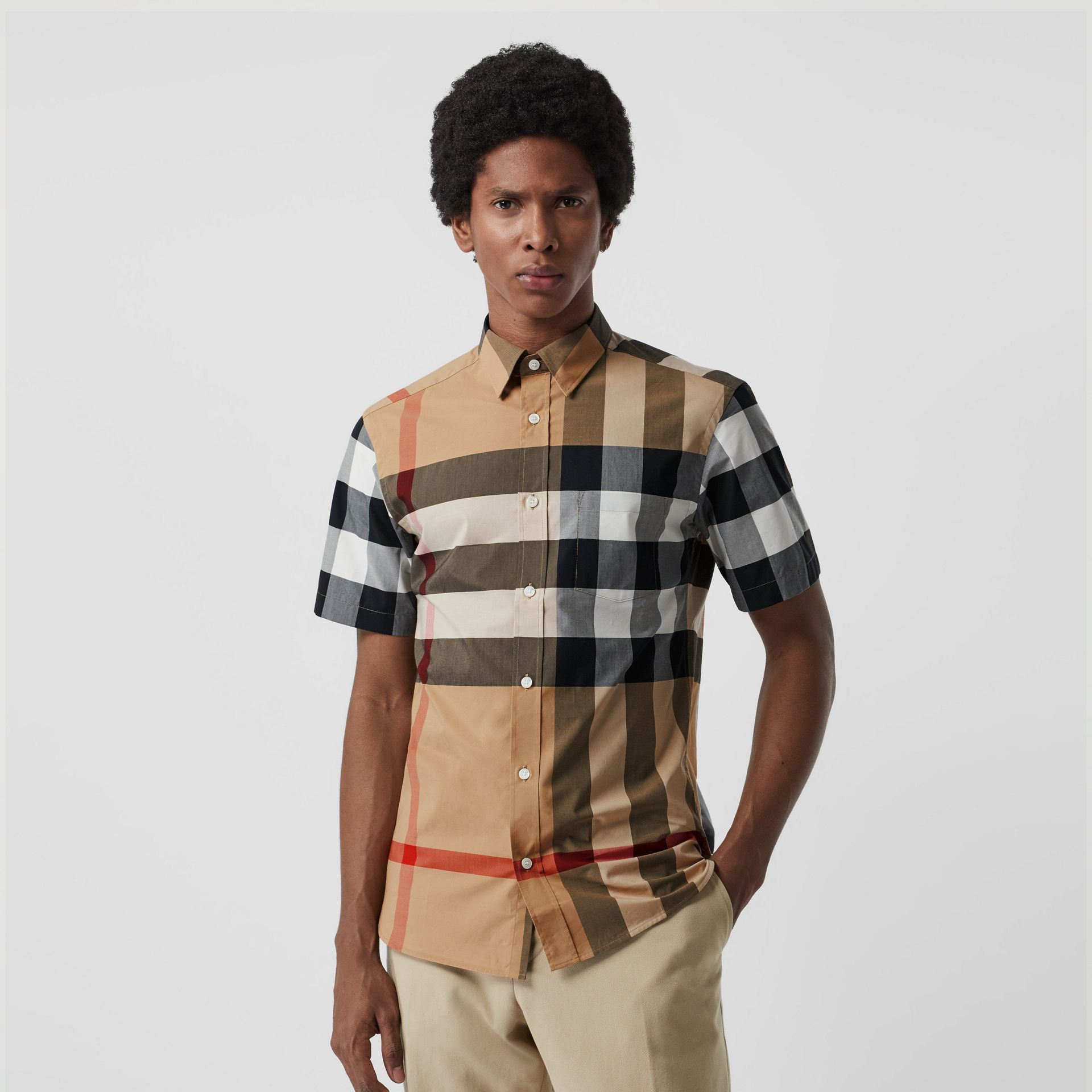 Short-sleeve Check Stretch Cotton Shirt in Camel - Men | Burberry Singapore - gallery image 4