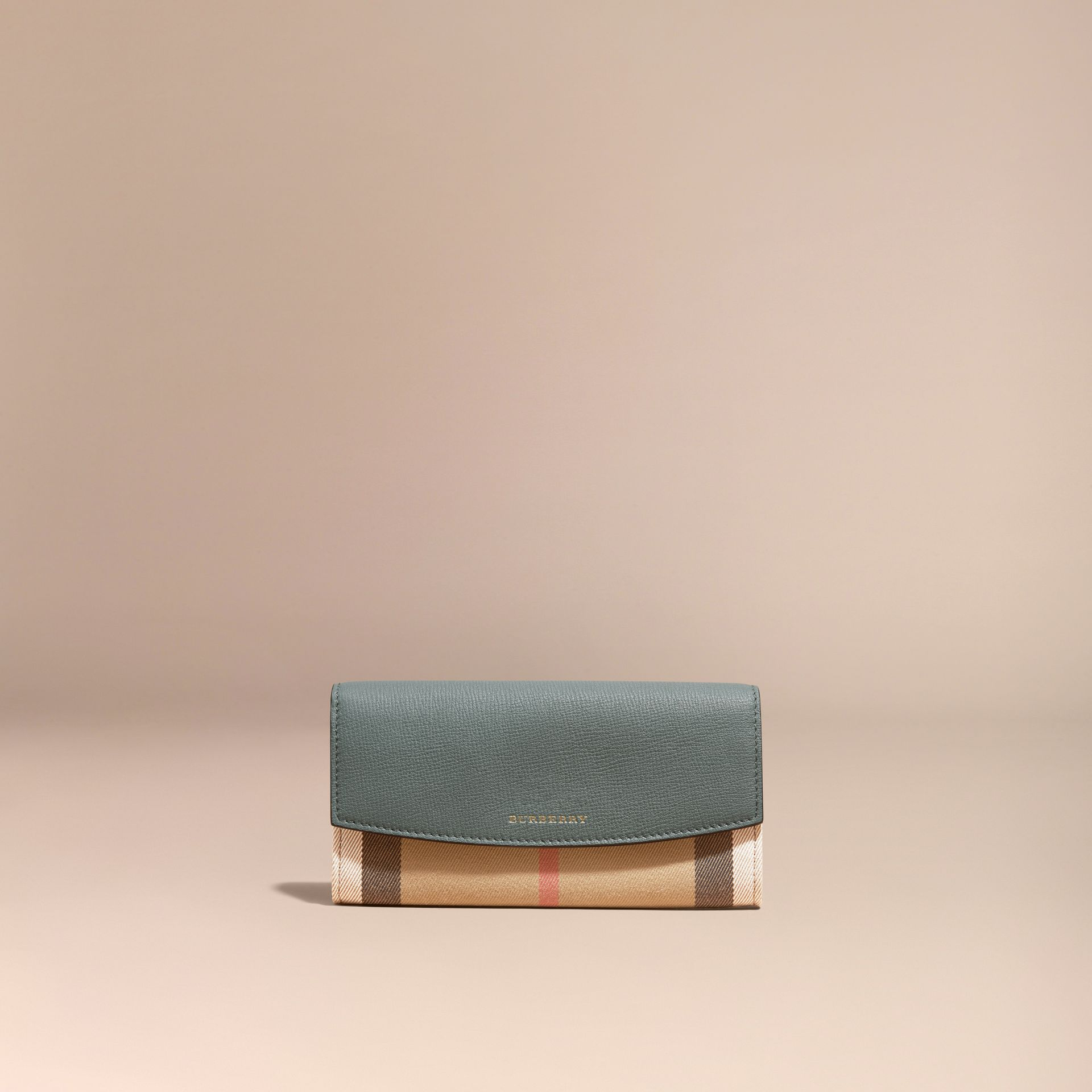 House Check and Leather Continental Wallet Smokey Green - gallery image 2