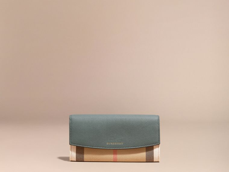 House Check and Leather Continental Wallet in Smokey Green - Women | Burberry - cell image 1