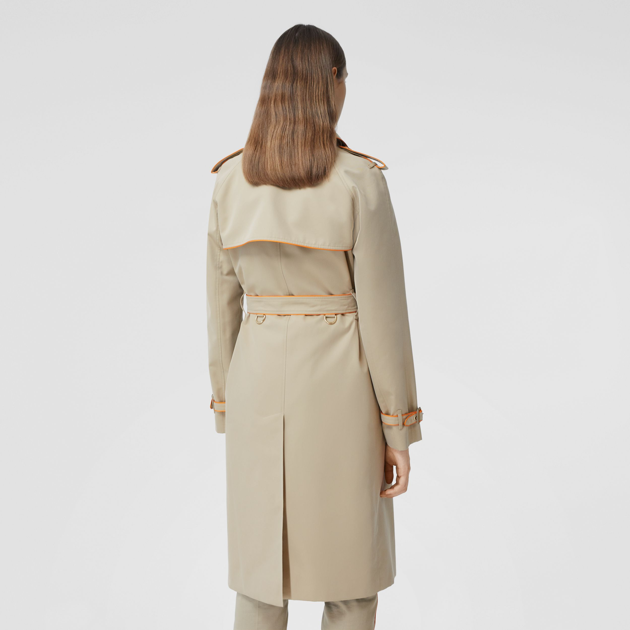 Piped Cotton Gabardine Trench Coat in Honey - Women | Burberry Canada - 3