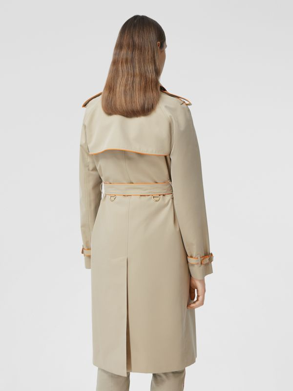 Piped Cotton Gabardine Trench Coat in Honey - Women | Burberry - cell image 2