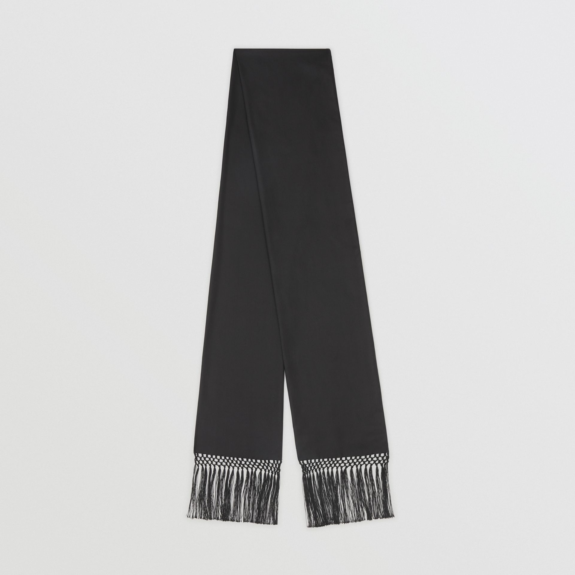 Fringed Silk Skinny Scarf in Black - Women | Burberry - gallery image 0