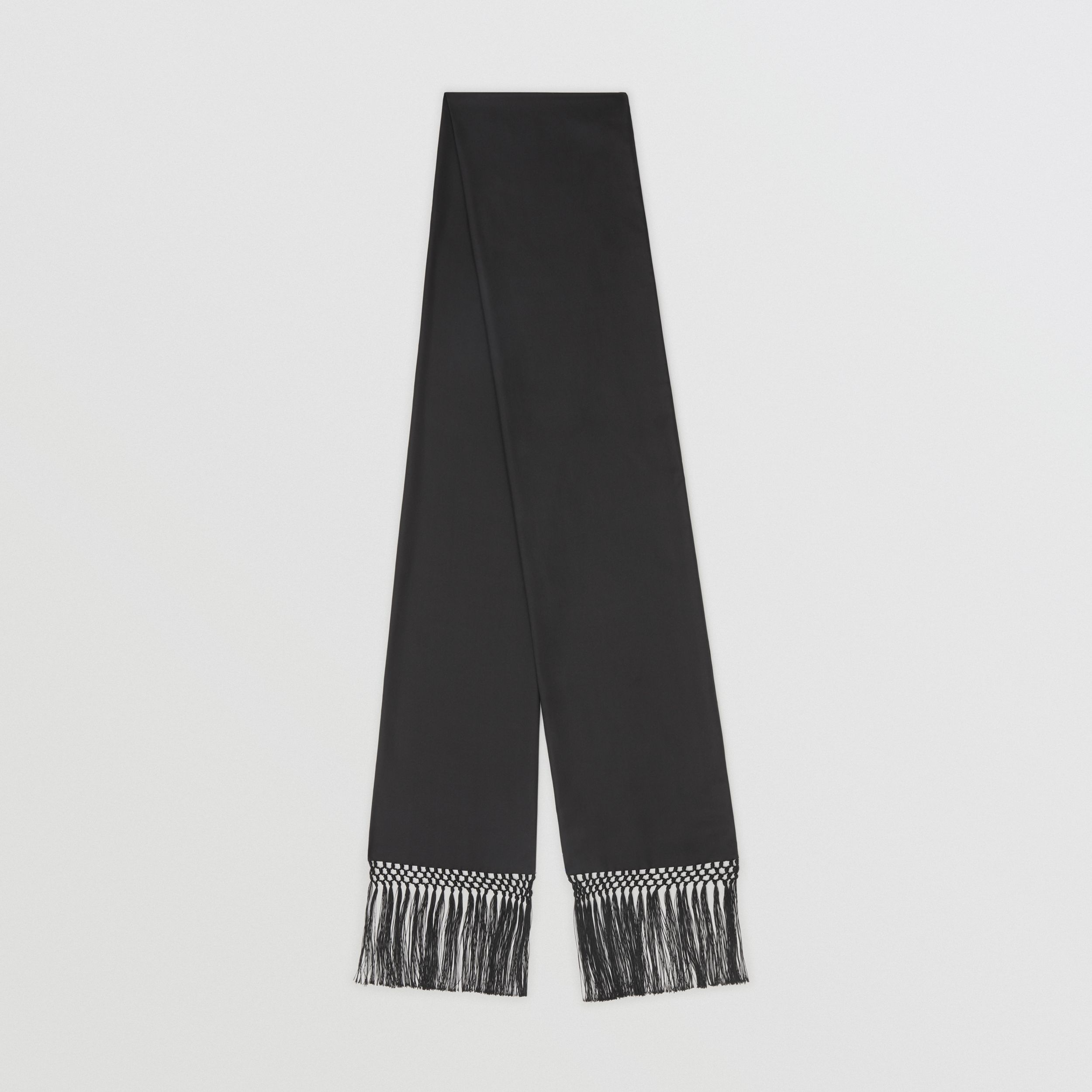 Fringed Silk Skinny Scarf in Black | Burberry - 1