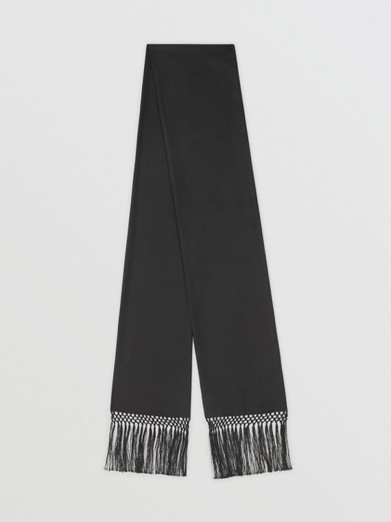 Fringed Silk Skinny Scarf in Black