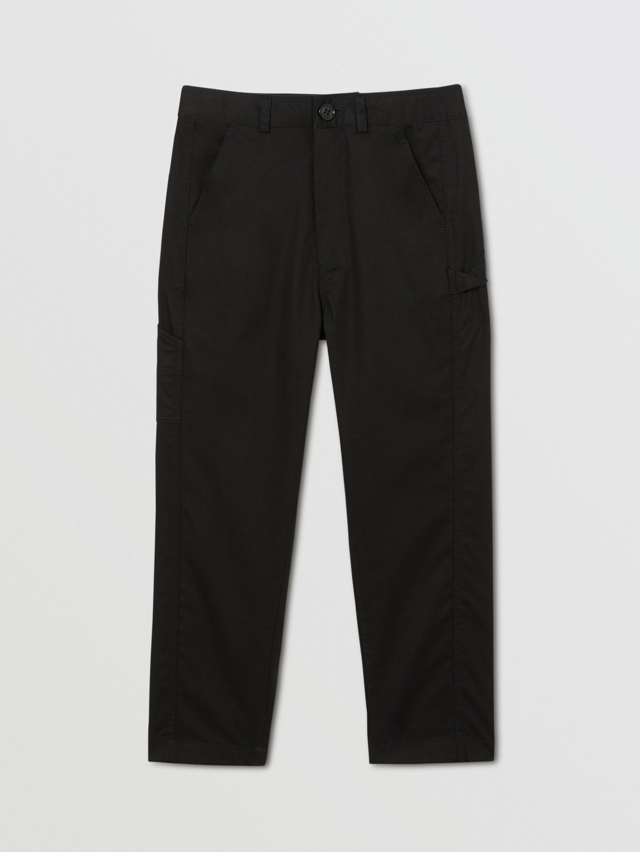 Logo Detail Cotton Twill Trousers in Black