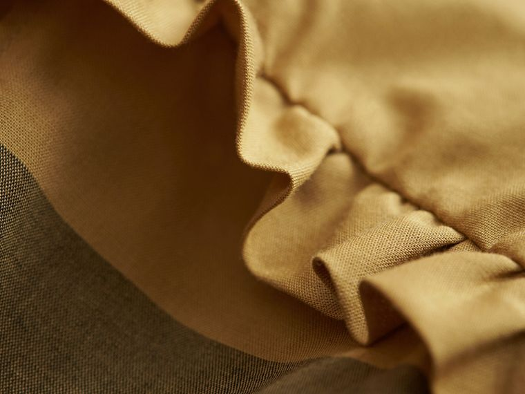 Pintuck Detail Check Cotton Top in Yellow Quartz - Girl | Burberry - cell image 1