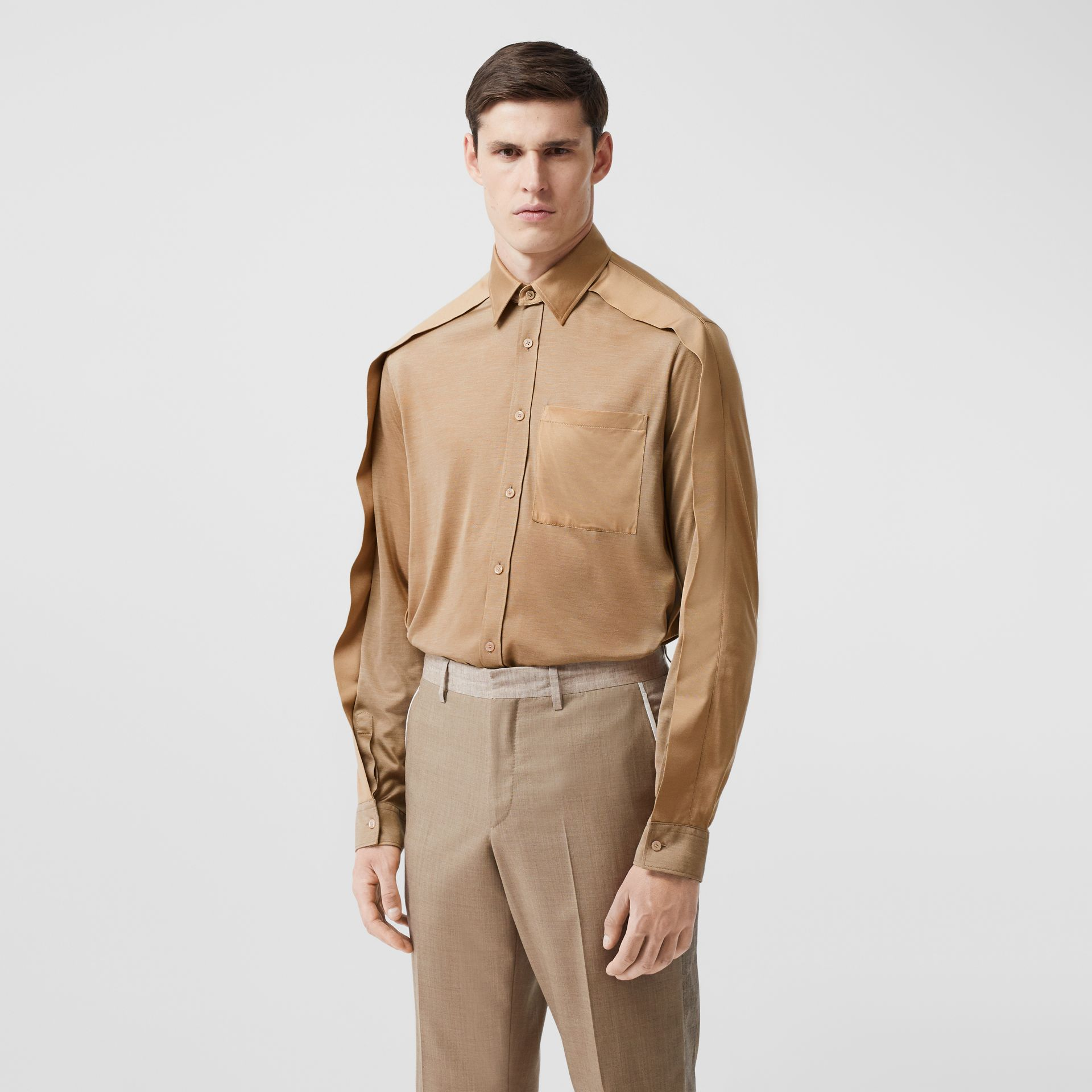 Classic Fit Cape Sleeve Silk Jersey Shirt in Soft Fawn | Burberry - gallery image 0