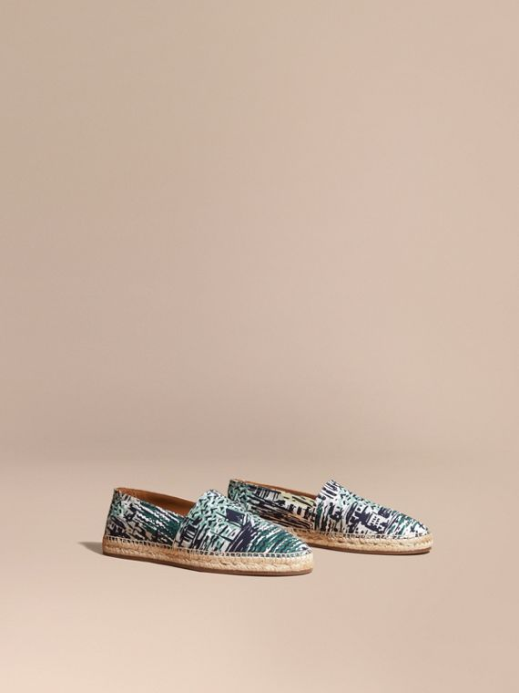 British Seaside Print Cotton Espadrilles Aqua Green