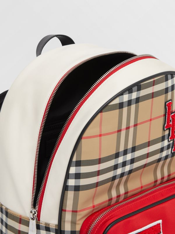 Monogram Motif Vintage Check ECONYL® Backpack in Archive Beige - Children | Burberry - cell image 3