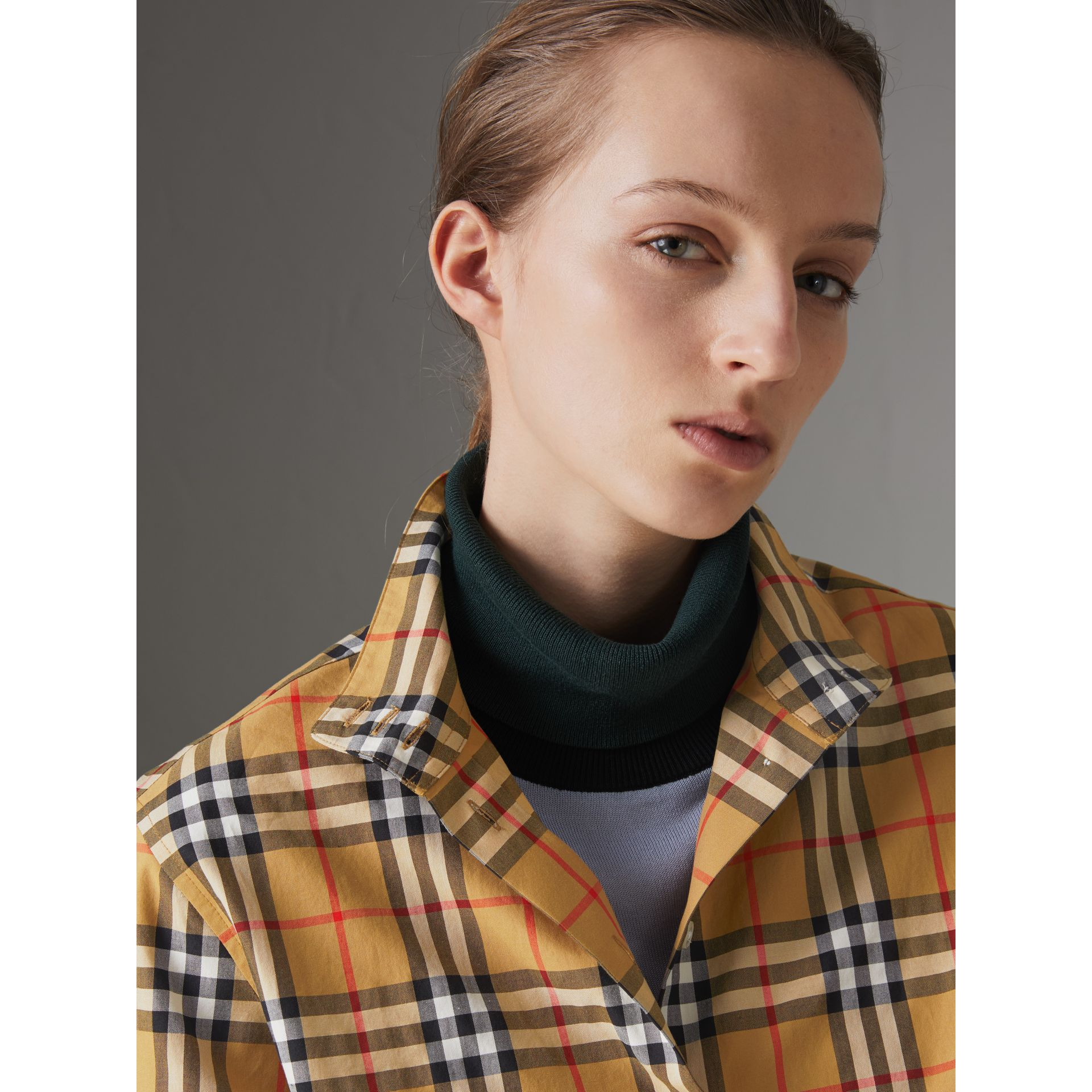 Stand Collar Vintage Check Cotton Shirt in Antique Yellow - Women | Burberry - gallery image 1