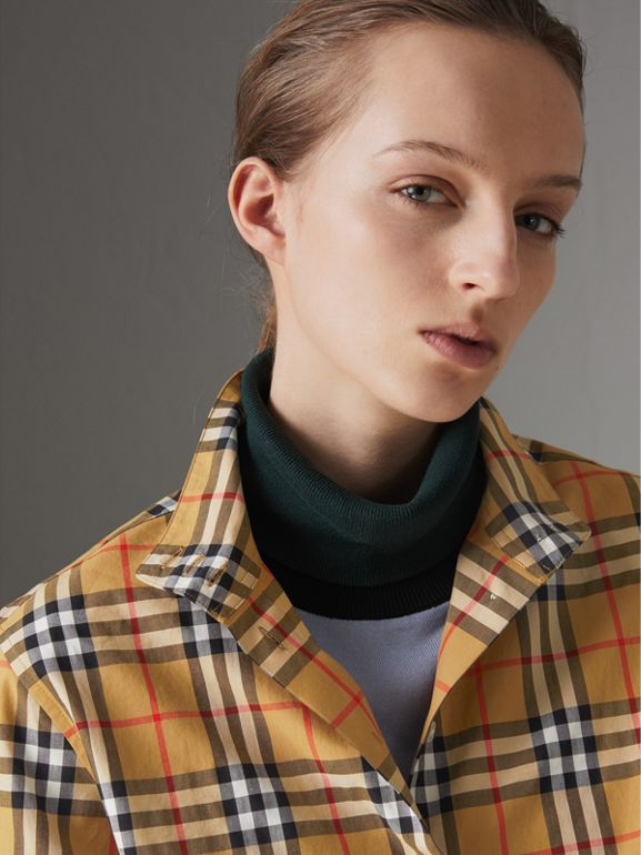 Stand Collar Vintage Check Cotton Shirt in Antique Yellow - Women | Burberry Canada - cell image 1