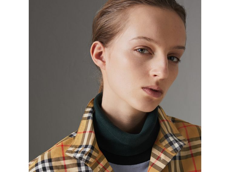 Stand-collar Vintage Check Cotton Shirt in Antique Yellow - Women | Burberry - cell image 1