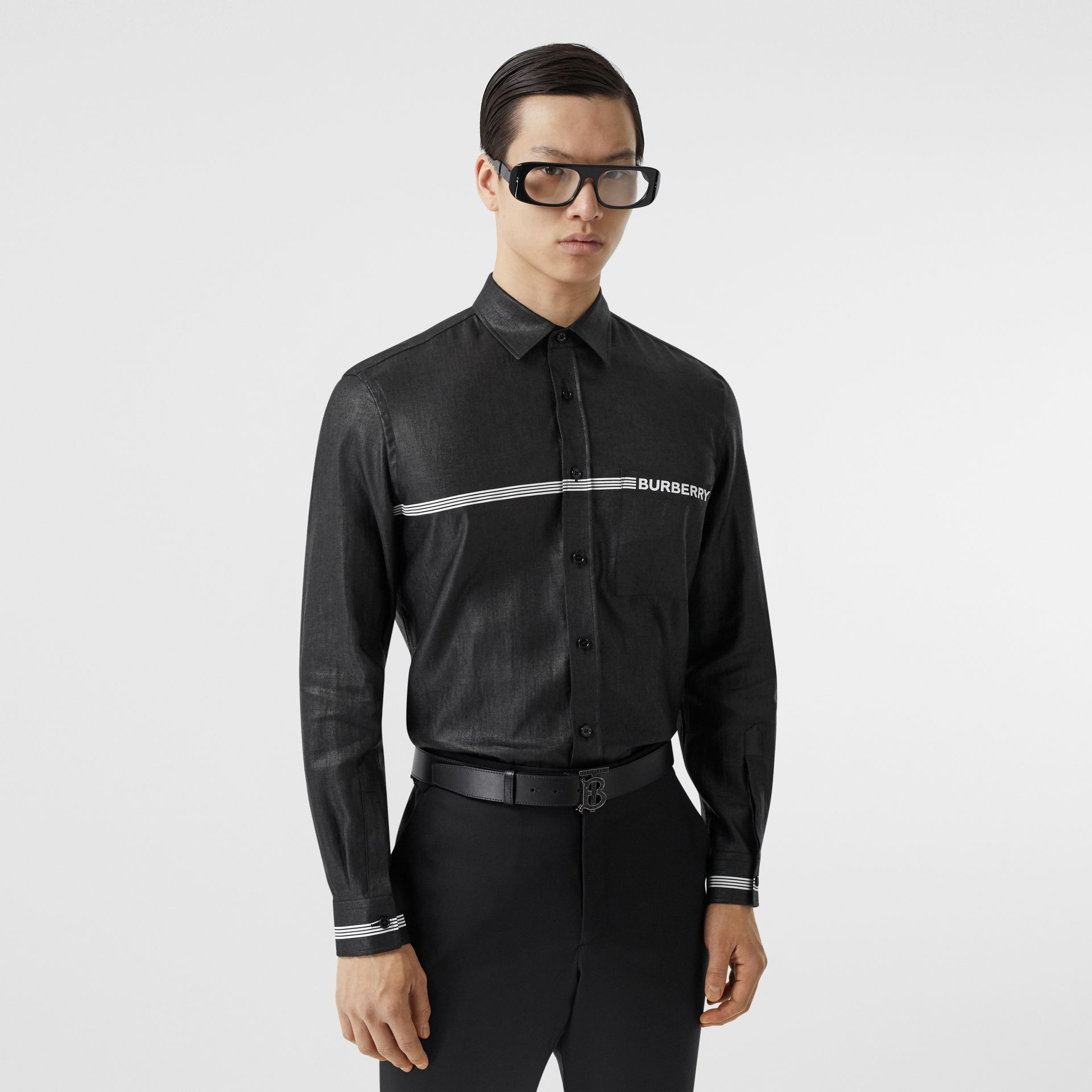 Logo Print Linen Blend Shirt in Black | Burberry - gallery image 0