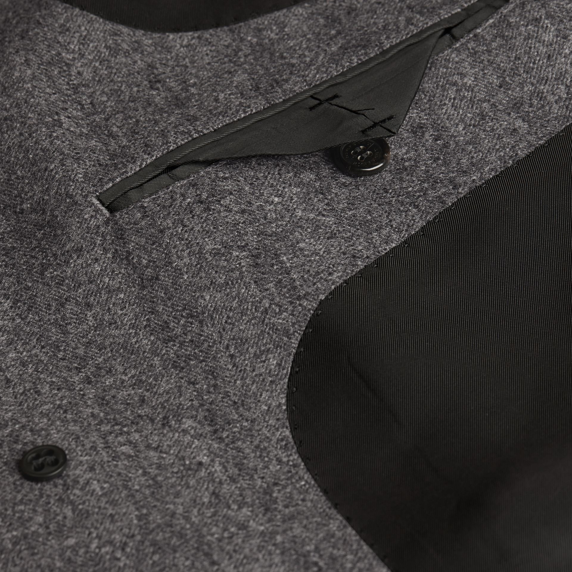 Mid grey Wool Herringbone Tailored Coat - gallery image 2