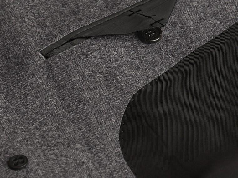 Gris moyen Manteau ajusté en laine à motifs chevrons - cell image 1