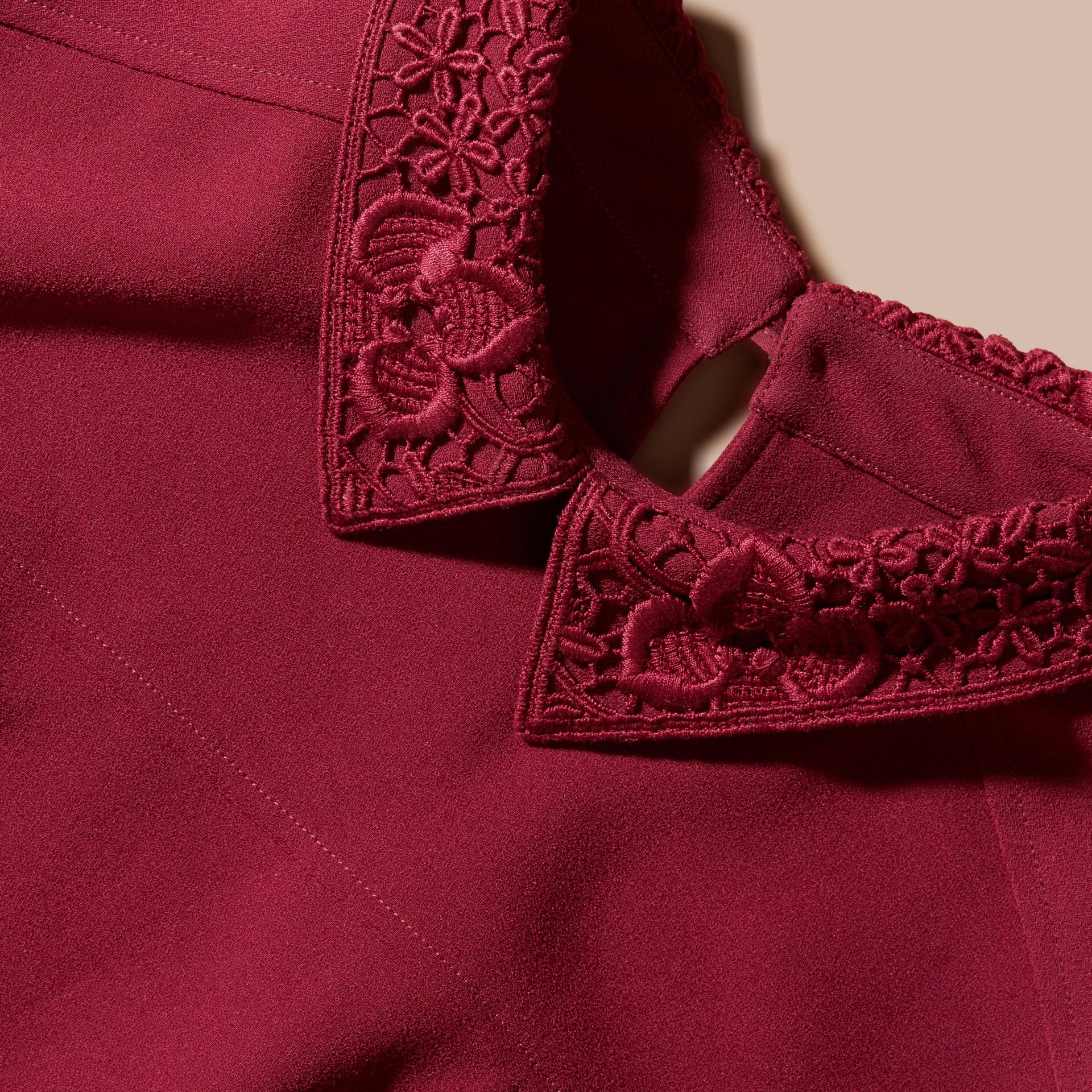 Dark crimson Sleeveless Lace Collar Dress - gallery image 2