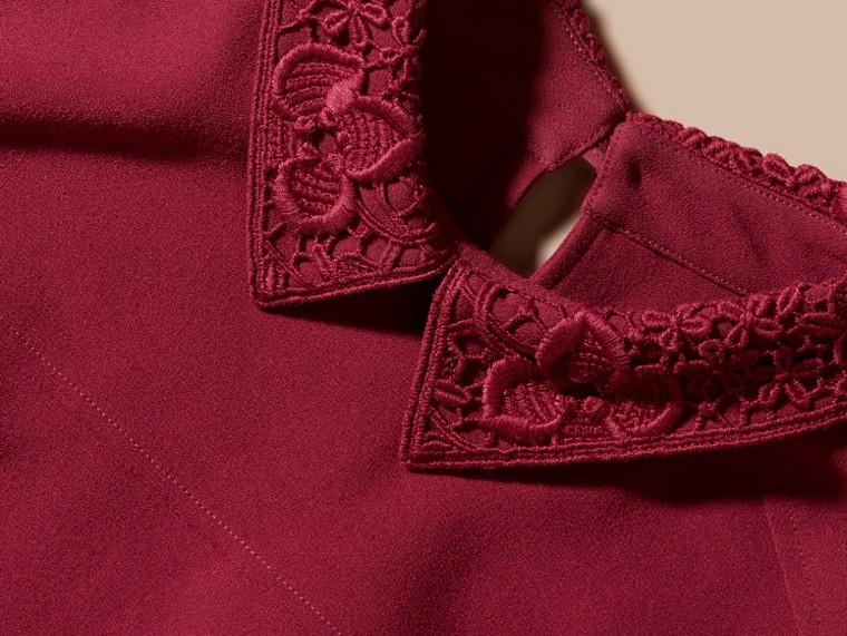 Dark crimson Sleeveless Lace Collar Dress - cell image 1