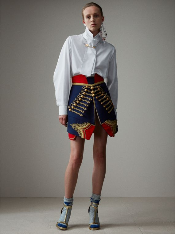 Regalia Detail Wool Ceremonial Skirt in Bright Navy