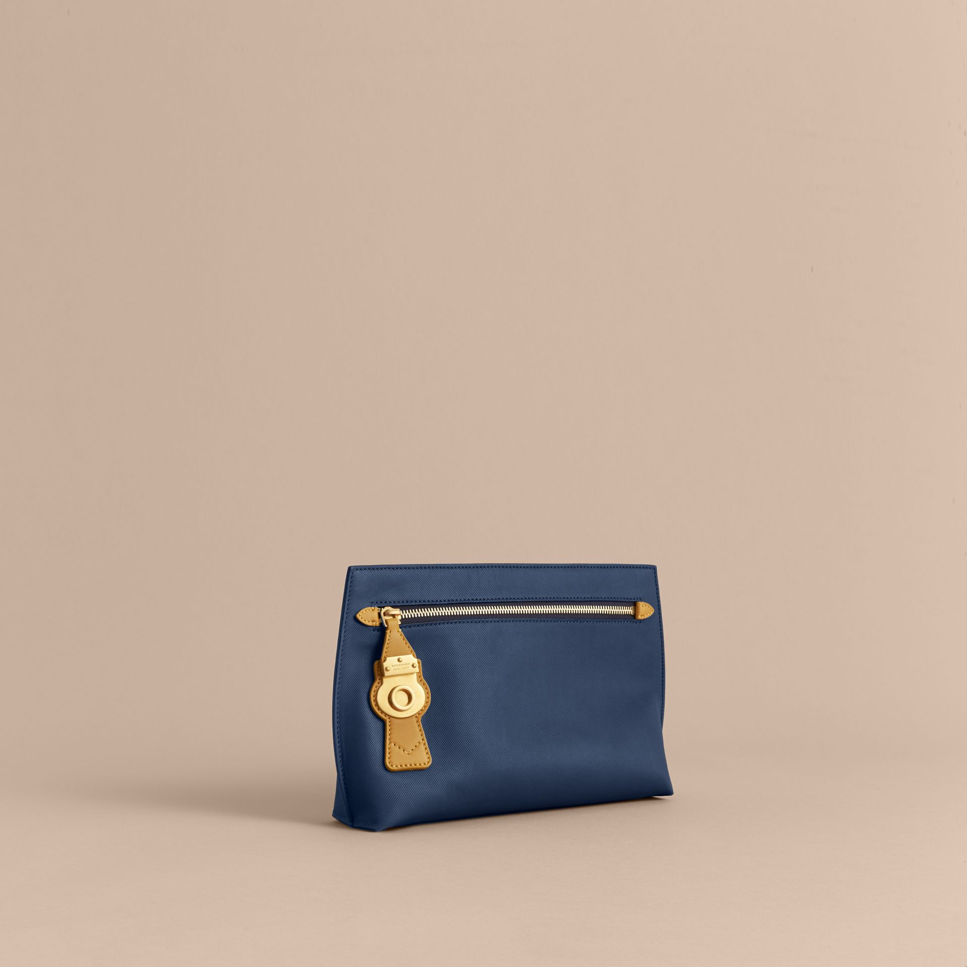 Two-tone Trench Leather Wristlet Pouch Ink Blue/ochre Yellow - gallery image 1